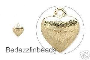 10 Small Gold Plated Heart Charms~Little Tiny Drop Bead