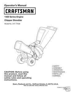 Craftsman Chipper Shredder Manual Model # 247.77638