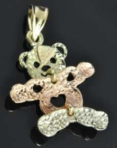 Hills Tri Color 14K Rose & Green Gold Movable Teddy Bear Charm Pendant