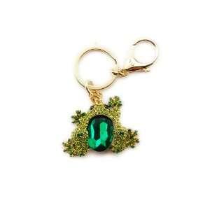 Lucky Green Gem Emerald Stone Crystal Rhinestone Chubby Lake Frog Toad