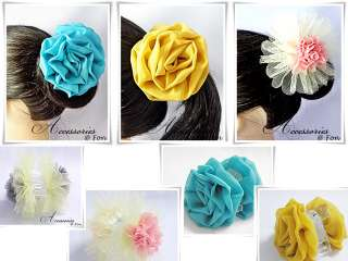 Beautiful Big Rose Chiffon & Flower Mesh Fabric Hair Claw Clip Clamp