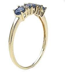 10k Gold Blue Sapphire Diamond Ring