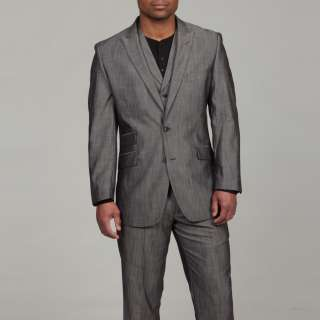 English Laundry Mens Grey Sharkskin Pattern Three piece Suit