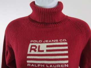 POLO JEANS CO. RALPH LAUREN Red Turtleneck Sweater Sz M
