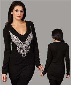 Black plus size long sleeve tunic blouse
