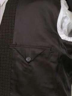 Chaps Tweed Jacket Wool Brown Black Hounds Tooth 38R