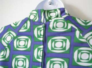 Blue green vintage long dress 70s square circles sz 12