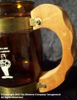 VINTAGE GRAIN BELT BEER WOOD HANDLED GLASS TANKARD W559 |