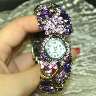 Purple swarovski crystal flower bracelet watch 0080