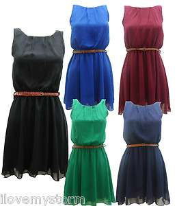 WOMENS LADIES CHIFFON PLEATED SKATER DRESS 6 COLOURS SIZE 8 TO 14