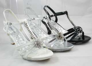 Ladies Rhinestone Party Prom Wedding Sandal Shoe Flower Black Silver