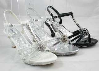 Ladies Rhinestone Party Prom Wedding Sandal Shoe Flower Black Silver