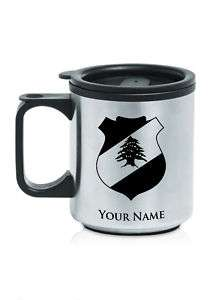 Personalized Stainless Coffee Mug  Lebanon Coat of Arms