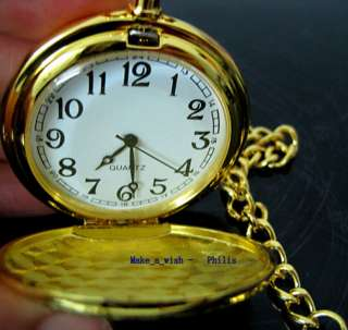 Classic Gold Case Pendant Pocket Chain Lady Mens Women Watch Fob White