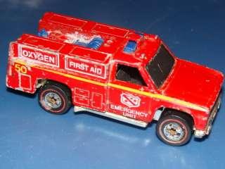 1974 Vintage Hot Wheels Redlines FIRE EMERGENCY SQUAD UNIT EMT Classic
