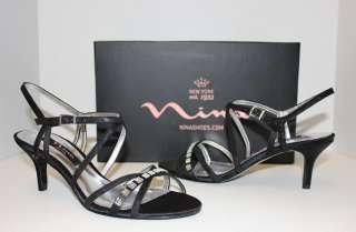 Curran black satin low heel strappy dress sandals shoes NIB