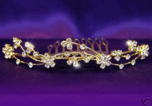 Bridal Wedding Rhinestone Gold Plated Tiara Comb T1060