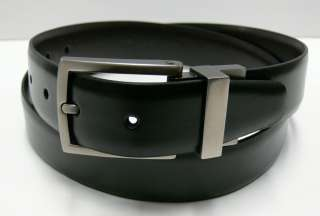 Cole Mens Reversible Black Brown Leather Dress Belt 1 1/4 Wide