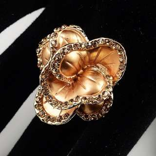 Flower Rhinestones Stretch Elastic Ring FREE Gift Pouch #LM006