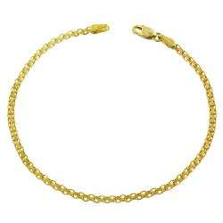 14k Yellow Gold 7.25 inch Bismark Bracelet (2.4 mm)  Overstock