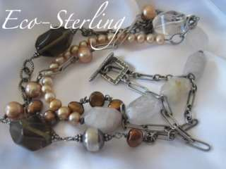 Long Sterling Smoky & Rutilated Quartz Copper Pearl Necklace