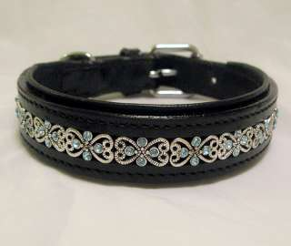Beautiful Blue Crystal Black Leather Dog Collar S M XXL