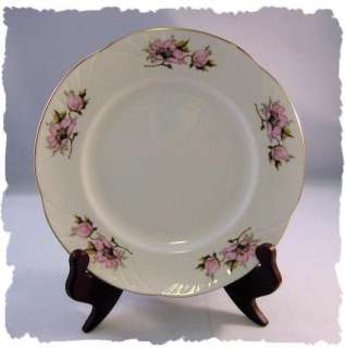 Crown Staffordshire England Pink Flower Salad Plate