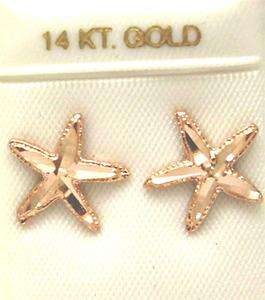 12MM 14K ROSE GOLD STARFISH STUD EARRINGS DIAMOND CUT