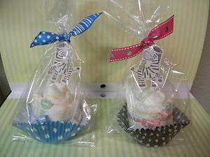 ZEBRA diaper cupcakes boy/girl baby shower favor or decoration