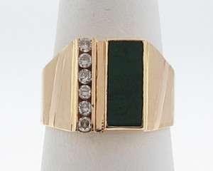 Estate Green Jade Diamonds Solid 14k Yellow Gold Mens Ring
