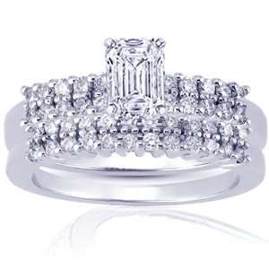 1.65 Ct Emerald Cut Petite Diamond Enagement Wedding Rings