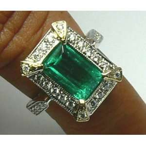 Art Deco Inspired Colombian Emerald & Diamond Ring 2.20