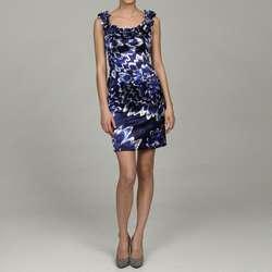 Maggy London Womens Ruffle Neck Floral Sheath Dress