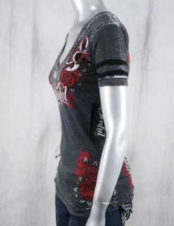 AFFLICTION Sinful womens LOLA T shirt love & pride roses burnout