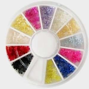 12 colors flower blossom pearl nail art rhinestones