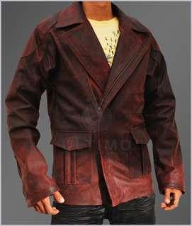 Robot Del Spooner Smith Vintage Red Distressed Mens Leather Jacket