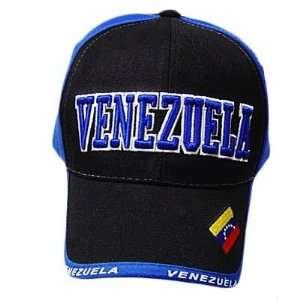 VENEZUELA BLUE BLACK BASEBALL CAP HAT EMBROIDERED ADJ