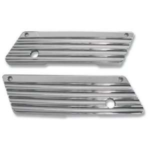 Machine Saddlebag Latch Covers   Finned   Chrome 04 50 1 Automotive