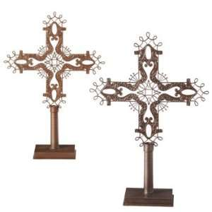 Pack of 2 Large Metalic Gold and Silver Cross Christmas