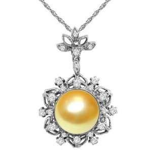 0.51 CT TW Diamond & Golden Pearl Pendant in 14k White