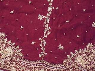 Designer Trendy Long Skirt Embroidered Women Maroon Fashion Dress