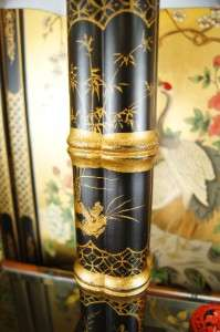Painted Black Lacquer Chinoiserie Chinese Table Lamp