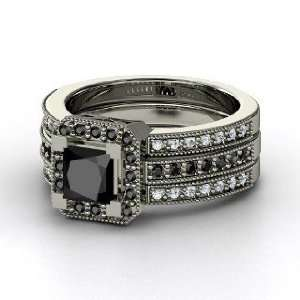 Va Voom Ring, Princess Black Diamond Platinum Ring with Black Diamond