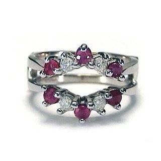 14k White Gold Ruby & Diamond Ring Wrap Guard Jewelry