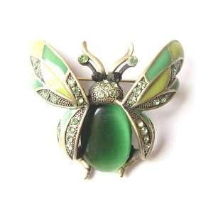 Green Crystal Rhinestone Ladybug Fly Insect Fashion Jewelry Brooch Pin