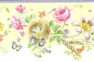 DIE CUT ROSES BUTTERFLY BIRD NEST Wallpaper bordeR Wall