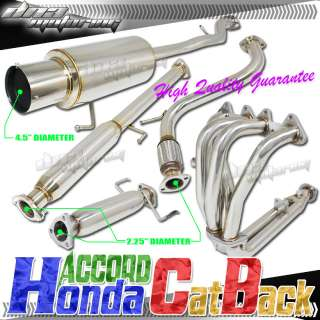 HONDA ACCORD 1994 1997 4CYL STAINLESS STEEL CATBACK EXHAUST+HEADER