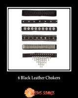 of Six 6 Black Leather Chokers Necklace Studs Spikes Biker Punk Goth