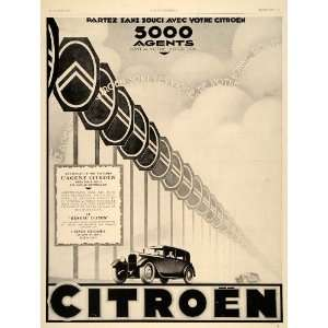 1928 Ad France Citroen Agents Cars Automobiles Signs   Original Print