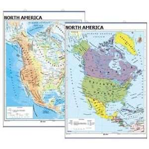Deluxe Laminated NORTH AMERICA Wall Map   Double sided